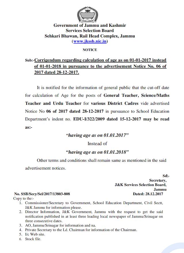 Corrigendum of notification No 06 Teacher Posts