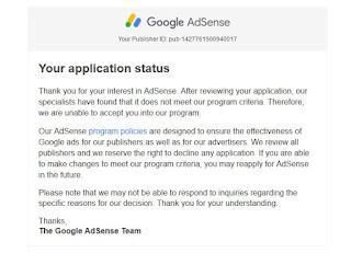 Di tolak adsense karena blog atau web di anggap aplikasi oleh google