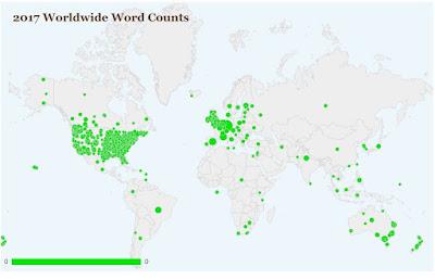 Location of NaNoWriMo writers