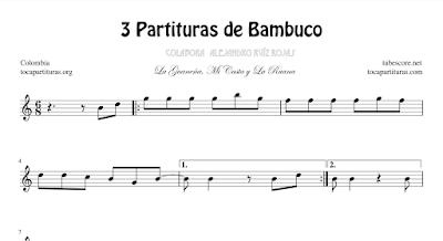 3 Partituras de Bambuco La Guaneña, Mi Casta y La Ruana con Acordes