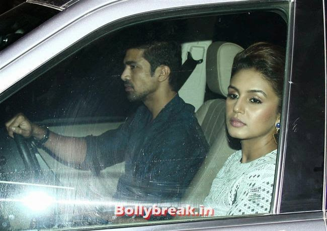 Saqib Saleem and Huma Qureshi, Bollywood celebs Clicked in their Cars at 2 States Special Screening