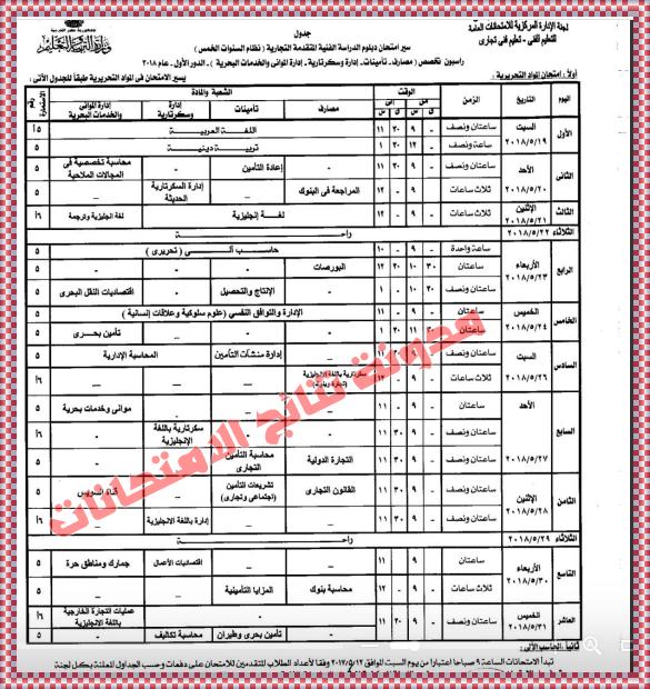 جدول امتحانات شهادة الدبلومات الفنية 2018 تجارى زراعى صناعى