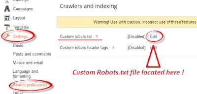 Add Custom Robots.txt File in Blogger