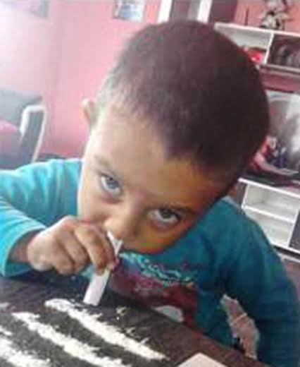 2 Photos: Three year old boy allegedly snorts cocaine