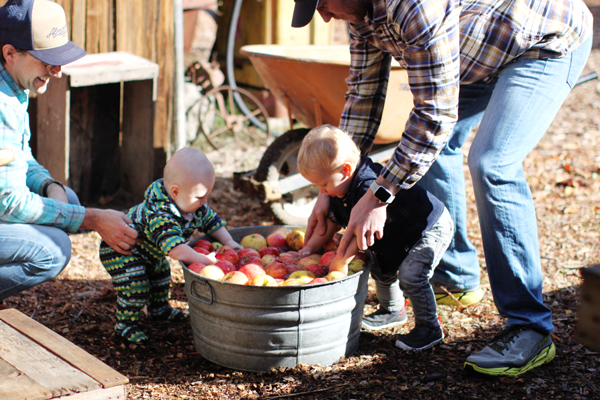 Babies washing apples for juicing