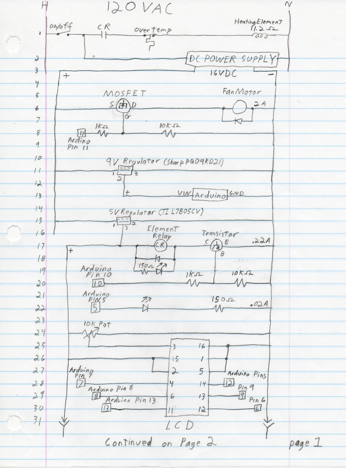 Ladder Wiring Diagram Headlight Switch Motorcycle Arduino Coffee Roaster April 2011
