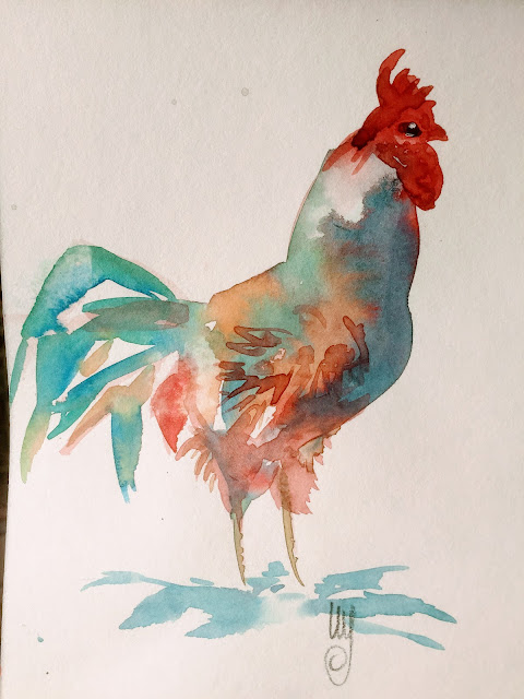Watercolor birdpainting by Artmagenta
