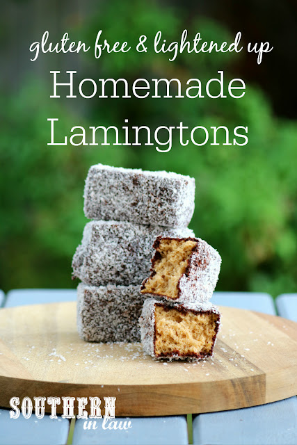 Easy Gluten Free Homemade Lamingtons Recipe - low fat, gluten free, nut free, dairy free, lower sugar, homemade gluten free sponge cake recipe, healthy australia day recipes