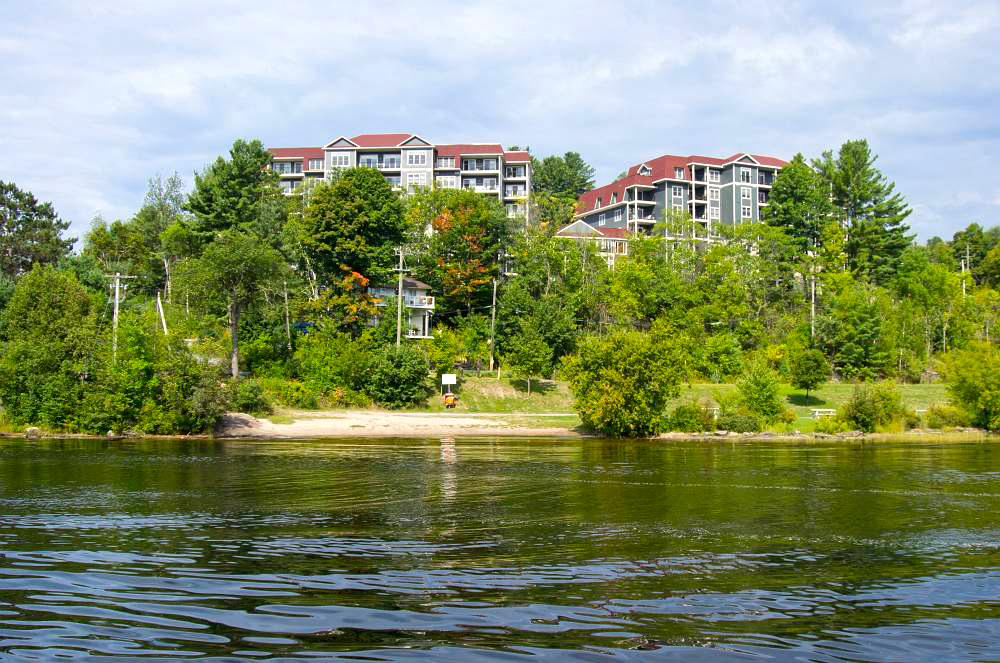 New buildings at the waterfront in Bracebridge.