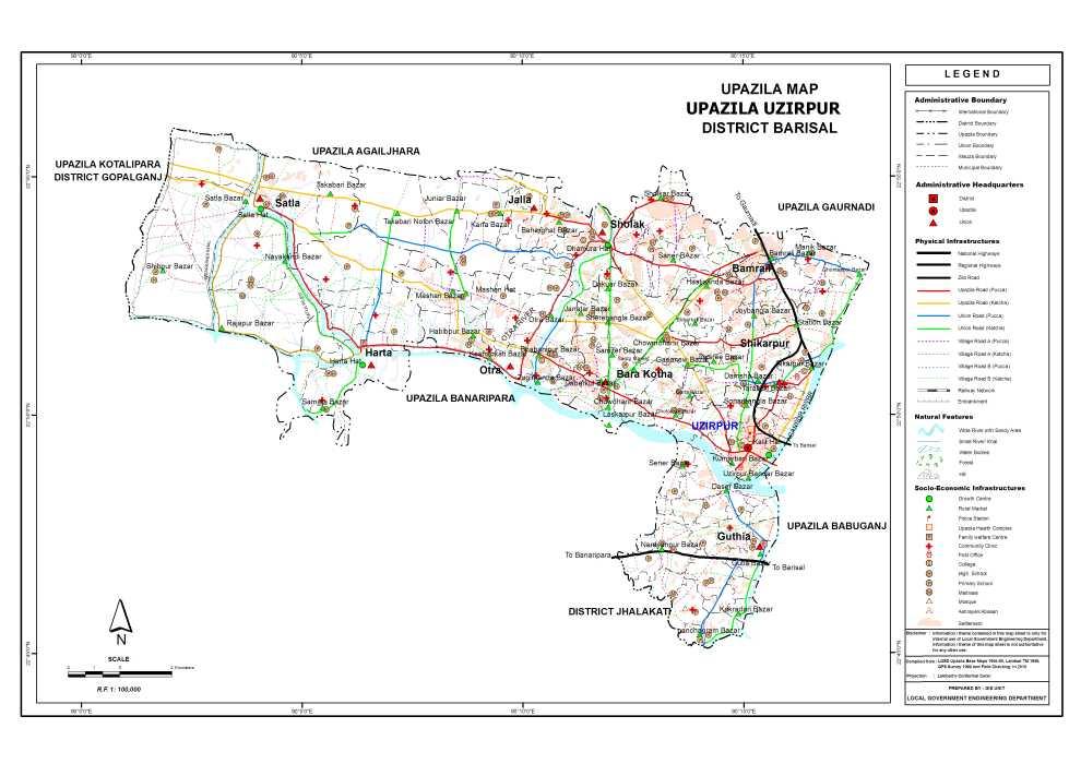 Wazirpur Upazila Map Barisal District Bangladesh