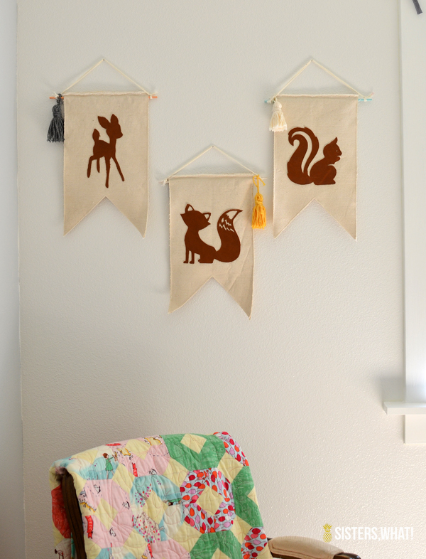 little girl's woodland room leather animal banner