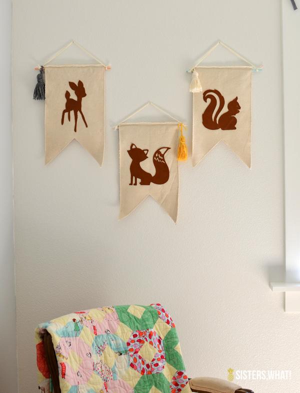 little girl's woodland room leather animal banner
