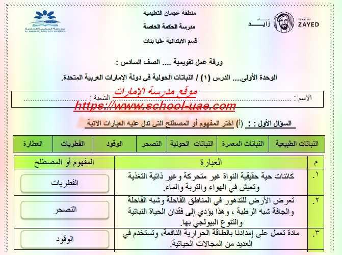 أوراق عمل محلولة درس النباتات الحولية فى دولة الامارات العربية المتحدة مادة الدراسات الاجتماعية والتربية الوطنية للصف السادس الفصل الثالث ٢٠١٩