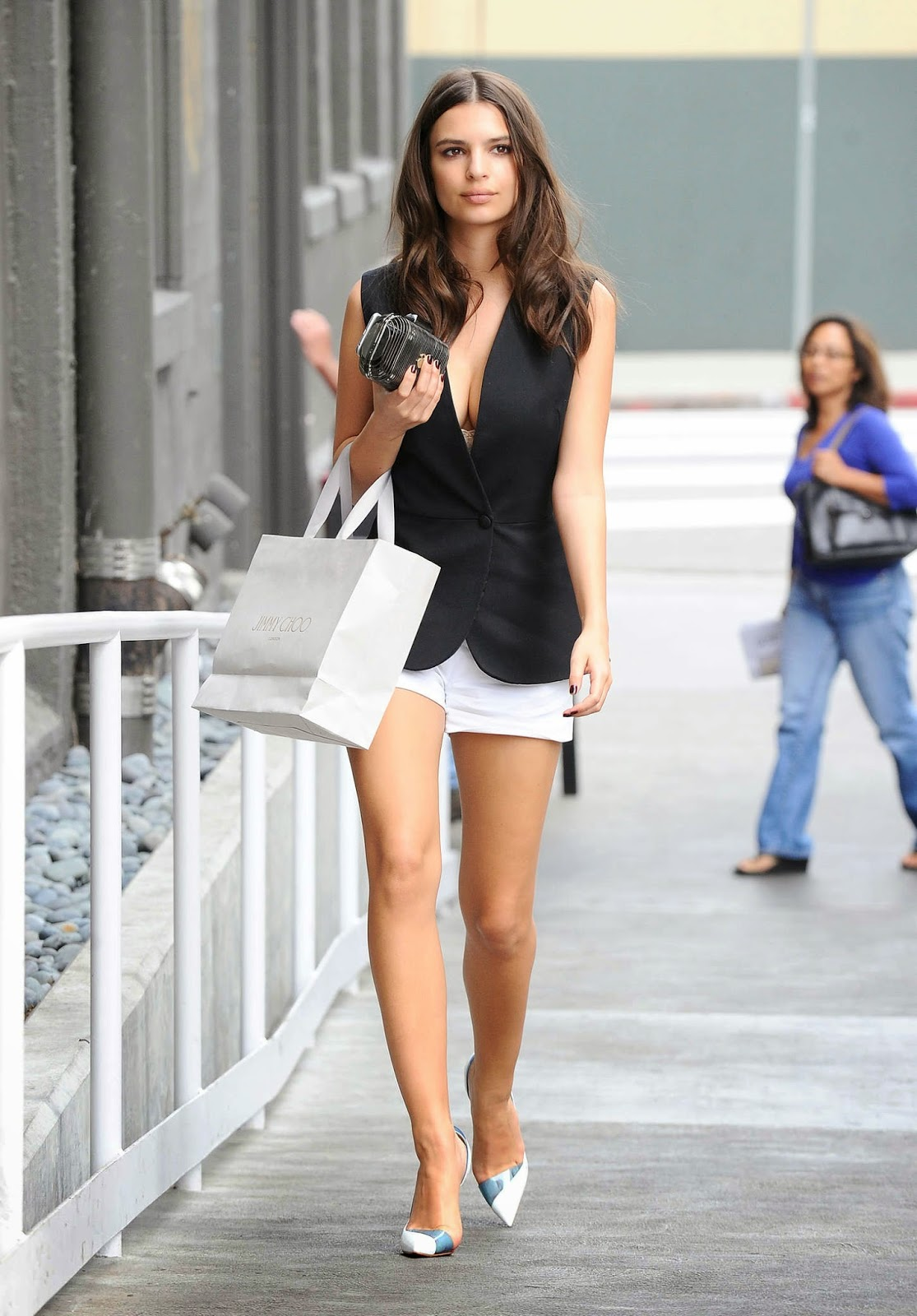 Emily Ratajkowski flaunts legs and cleavage out and about in LA
