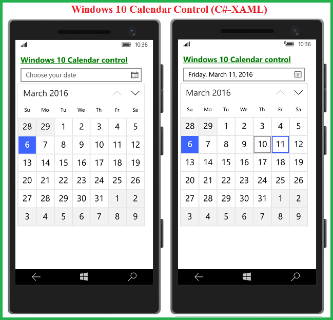 Windows 10 #UWP Apps: Now Calendar Controls are available