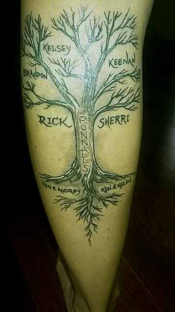Family tree tattoo design with names