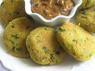 Chana Dal Peanut Patties with a Tamarind Chili Sauce