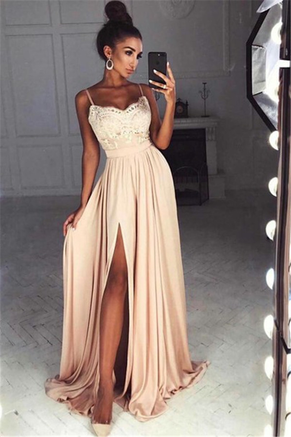 Straps Front Slit Sexy Prom Dress Lace Cheap Champagne Long Evening Dress 2018 BA7097