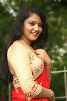 Akshara in Red Saree Golden Choli at LV Movie Makers Production No 1 Movie Opening ~  Exclusive 083.JPG
