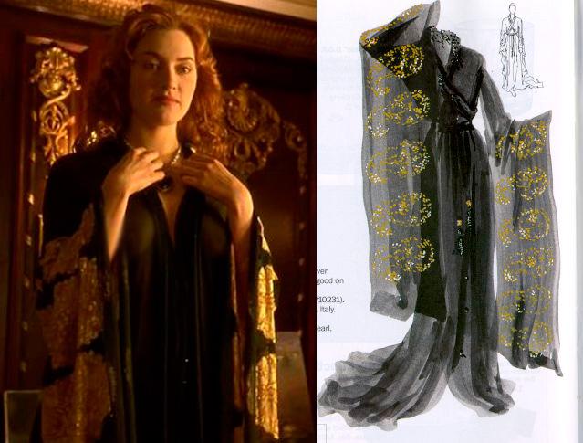 Cena do filme e ao lado desenho do Kimono usado pela Rose (Kate Winslet)