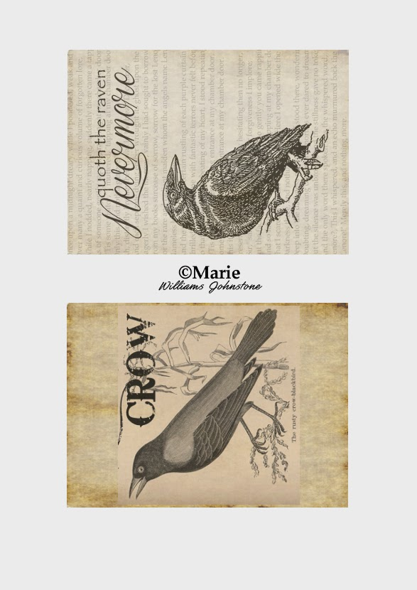 Black Crow and Raven Images on Antiqued Backgrounds