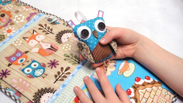 Детские навесные кармашки Сова (кармашки с игрушкой): натуральный хлопок, лесные животные, подарок малышу детсадовцу