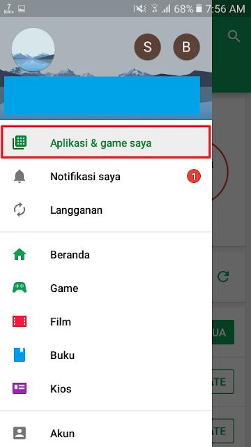 Pilih menu Aplikasi & game saya