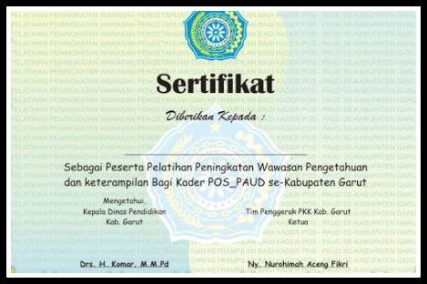 Update 2017 Format Sertifikat Blangko Atau Piagam TK Dan PAUD