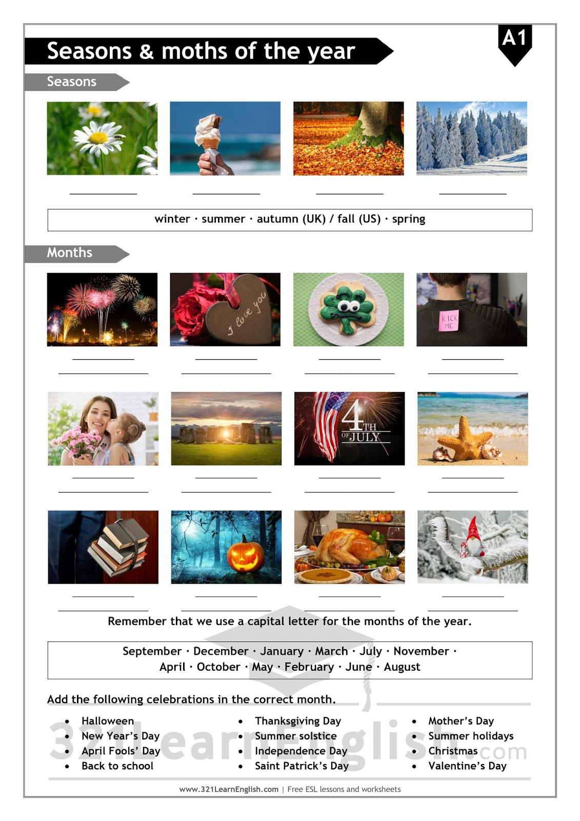 321 Learn English Esl Vocabulary Seasons And Months