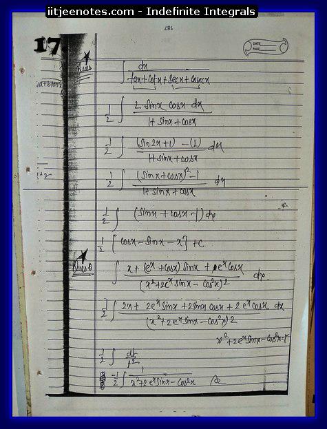 indefinite integrals notes 3