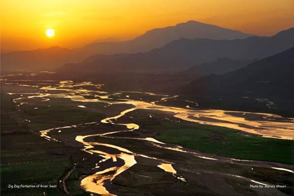 A Sun Set evening view of Swat River, Swat Valley, Pakistan