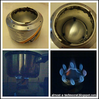 Homemade alcohol stove made from 325ml aluminium beverage can (pop can).