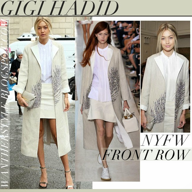 5c60f8d48 Gigi Hadid in cream embellished coat with silver metallic ankle strap  sandals tory burch keri want