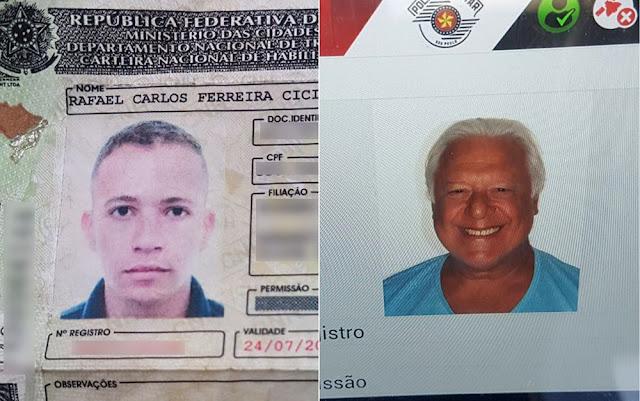 Documento falso com dados do ator Antônio Fagundes foi apresentado por motorista à polícia em Ribeirão Preto, SP (Foto: Polícia Militar/Divulgação)