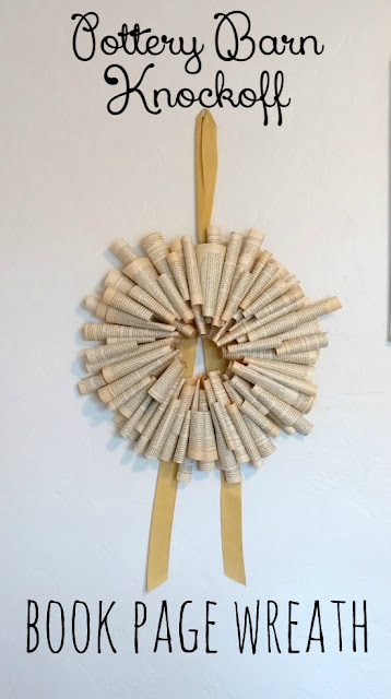 DIY Book Page Wreath Pottery Barn Style!