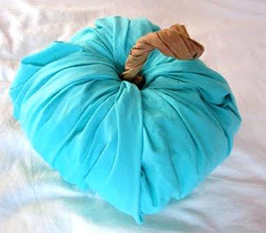 blue fabric pumpkin
