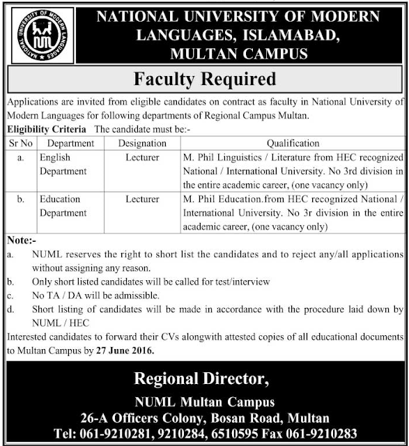 NUML Jobs in Pakistan for Lecturers of Different Subjects