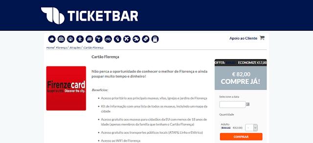 Ticketbar para ingressos para o cartão Florença