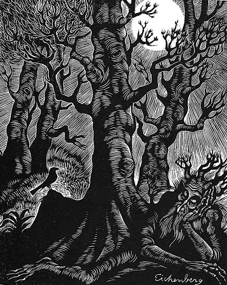 a Fritz Eichenberg illustration of a sleeping tree demon