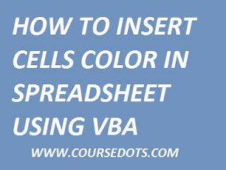 INSERT CELL COLOR IN SPREADSHEET USING VBA EXCEL