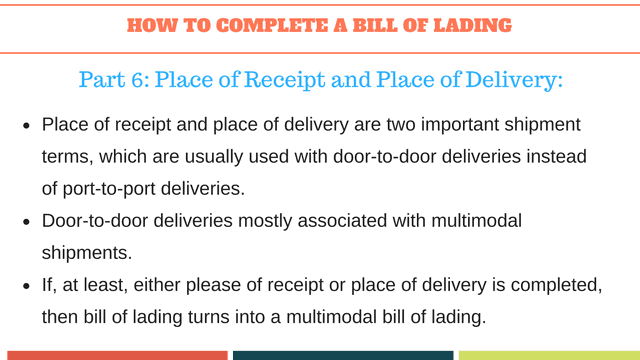 How to complete a bill of lading | Place of Receipt and Place of Delivery
