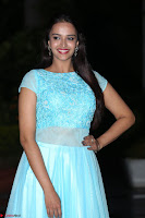 Pujita Ponnada in transparent sky blue dress at Darshakudu pre release ~  Exclusive Celebrities Galleries 095.JPG