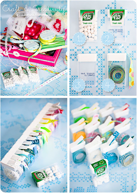 Use Tic Tac containers to keep loose ribbon organized