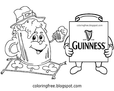 Guinness beer mug picture St. Patrick's Day colouring Irish cartoon printable for teenagers art work