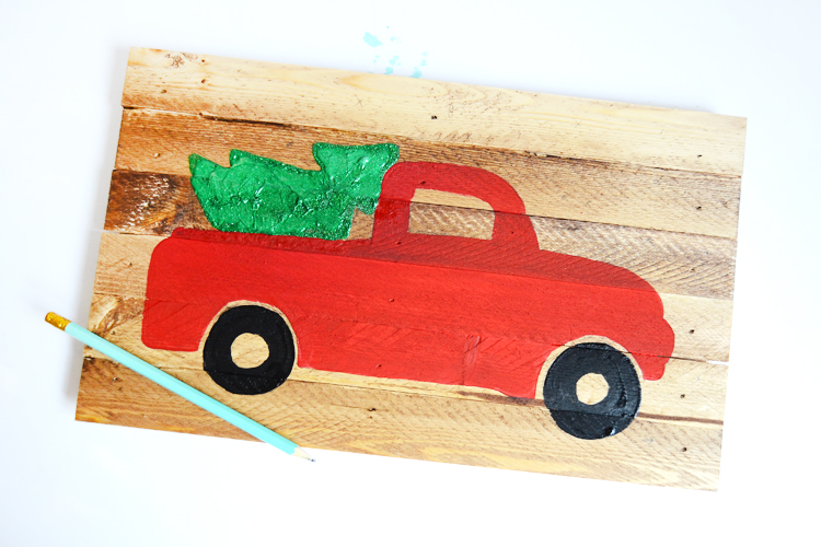diy christmas truck sign