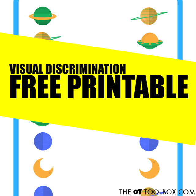 Use this space themed visual discrimination free printable page to help kids develop visual perceptual skills.