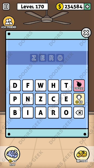 The answer for Escape Room: Mystery Word Level 170 is: ZERO
