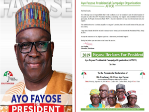 Lobatan!  Fayose Ignores PDP Lamentations, Goes Ahead With Presidential Declaration