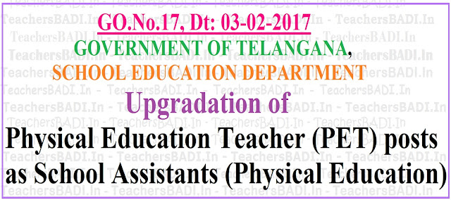 Upgradation of PETs, SAs,School Assistants(Physical Education), TS High Schools