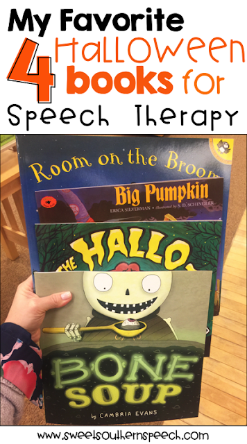4 books with FREE downloads to use in Speech Therapy this Halloween